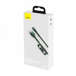 Cablu USB Baseus Fast 3in1 USB la USB-C / Lightning / Micro AFC 1 m 5A 480 Mbps verde (CA1T3-A02)
