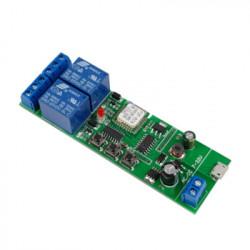 Comutator inteligent cu releu inteligent 5W-32V cu 2 ganguri, cu contact uscat și comutator momentan, compatibil eWeLink / Sonoff, Wi-Fi