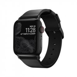 Curea slim din piele naturala pentru smartwatch Nomad Modern , negru- Apple Watch 40/38 mm