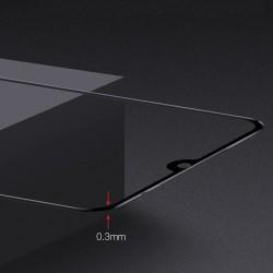 Folie din sticla full screen 3D curbata cu margini moi, filtru lumina albastra, Baseus, pentru Xiaomi Mi 9, 0.3 mm, negru