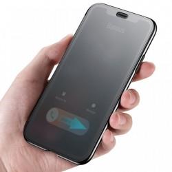 Husa Book, Baseus Touchable, TPU gel + sticla securizata, pentru iPhone XR, negru