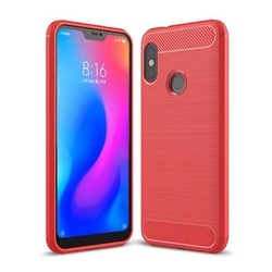 Husa telefon TPU model carbon , Gema Mixt pentru Xiaomi Mi A2 Lite / Redmi 6 Pro , rosu