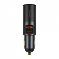Incarcator Auto USB Baseus Share Together, Quick Charge, 120W, 1 X USB - 1 X USB Tip-C, Gri CCBT-C0G