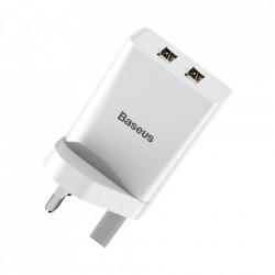 Incarcator Baseus de telefon 2x USB 2.1A 10,5W cu adaptor britanic - alb
