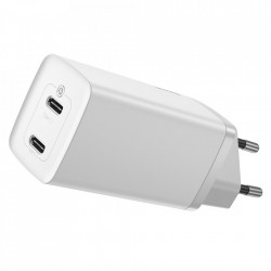 Incarcator priza Baseus GaN2 Lite Quick Charger 2x USB Typ C 65 W Power Delivery 3.0 Quick Charge 4+ SCP FCP AFC white (CCGAN2L-E01)