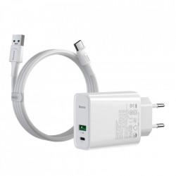 Incarcator priza USB / USB tip C rapid VOOC încărcare rapidă 4.0+ livrare de putere 3.0 + USB - cablu USB tip C 1m alb (TZCCFS-H02)