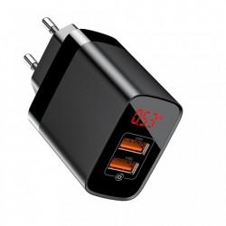 Incarcator retea cu display , Baseus Mirror Lake Travel Quick Charge 3.0 2x USB 18W negru