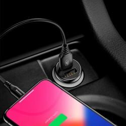 Incarcator telefon auto, Baseus Gentleman, 2 x USB, 4.8A, negru