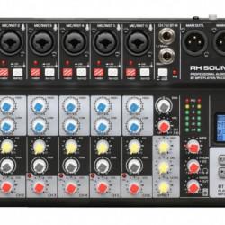 Mixer 8 canale RH SOUND SE8 ME, 6 mono + 1 stereo) cu player si recorder USB, Bluetooth