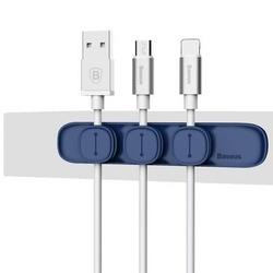 Organizator/Suport cabluri telefon cu banda dublu adeziva , Baseus Peas Magnetic , albastru