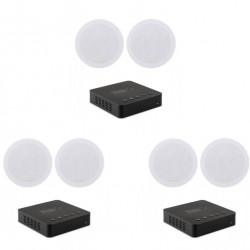 Pachet sonorizare 3 zone prin streaming WI-FI cu 3x TIBO BOND 4 si 6 boxe de tavan INAKUSTIK Ambientone R1