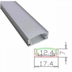 Profil banda LED usor convex, montaj aplicat, aluminiu, 2 m