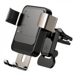 Suport auto cu incarcare wireless, Joyroom black (JR-ZS220)