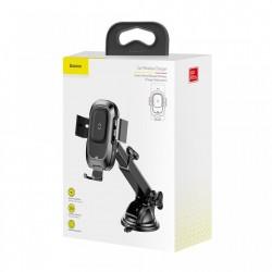 Suport auto cu incarcare wireless Qi si prindere automata a telefonului, Baseus Smart , negru