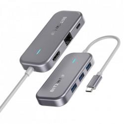 Adaptor Blitzwolf 6in1 BW-TH10 Hub USB-C la 3xUSB 3.0, HDMI, RJ45, AUX, USB-C PD 3.0 100W
