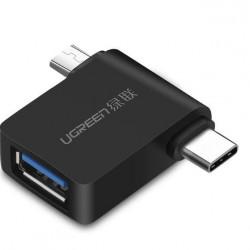 Adaptor UGREEN 2in1 OTG USB-A 3.0 la USB-C și micro-USB