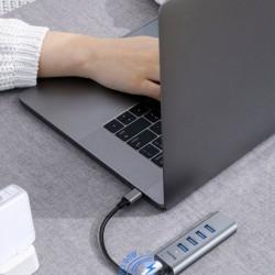 Adaptor USB-C la 4x USB 3.0 + USB-C (mama), Baseus Enjoy HUB, gri