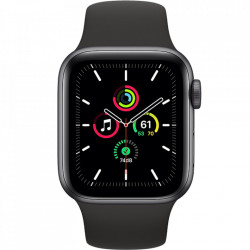 Apple Watch SE, GPS, Carcasa Space Gray Aluminium 44mm, Black Sport Band