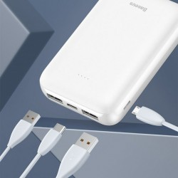 Baterie externa , Baseus Mini JA 10000mAh , 2xUSB, 1xUSB-C PD, 1xMicro USB, 2.1A , alb