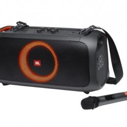 Boxa portabila JBL PartyBox On-The-Go, 100W, Bluetooth, Microfon Wireless, USB, IPX4, Light Show, Plug-n-play, Negru
