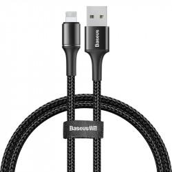 Cablu de date cu lumina LED , USB- Lightning , Baseus Halo , 0.5M , 2.4A, negru (CALGH-A01)