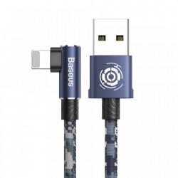 Cablu de date si incarcare , Baseus Camouflage , Tip Usb / Lightning 2.4 A , 1M , albastru
