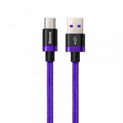 Cablu de date USB-C, Baseus Purple Gold Red, SuperCharge 40W, Quick Charge 3.0, 2 M, albastru