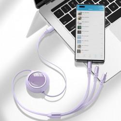 Cablu de date USB la Micro-USB, Lightning, Type-C Baseus, 66W, 1.2m, mov, CAMLC-MJ01