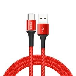 Cablu Type C cu Led , 2A , 1M, BASEUS Halo Durable Nylon, rosu
