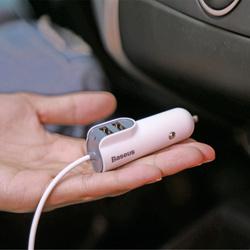 Incarcator auto Baseus Energy, cablu lightning + 2 porturi USB, 5.5 A, negru
