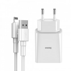 Incarcator priza Baseus 2x USB 10,5 W 2,1 A + USB - Cablu lightning 2,4 A 1 m alb (TZCCFS-R02)