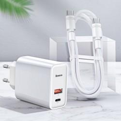 Incarcator priza + cablu Type C, Baseus Speed PPS Quick charger C+U 30W EU USB / USB Type C PD Quick Charge 3.0 QC3.0 + USB Type C