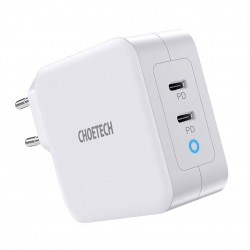 Incarcator priza Choetech GaN 2x USB Type C Power Delivery 3.0 QuickCharge 3.0 AFC 100W EU white (PD6008-EU)