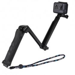 Selfie Stick/Tripod pliabil Puluz pentru camerele de sport PU202 negru