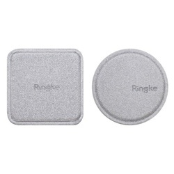 Set placute metalice acoperite cu piele, Ringke, pentru suport magnetic auto, gri