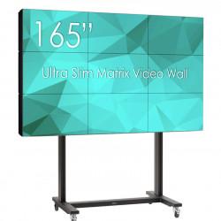 Solutie VideoWall 3x3 cu suport Vogel's 3x3 cu baza mobila si 9 Display-uri SWEDX UMX-55K8, bezel 3,5mm