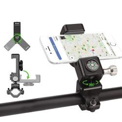 Suport telefon cu busola, reglabil pentru biciclete , negru