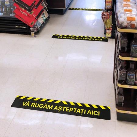 Autocolant Linie Asteptati Aici 50 x 10 cm