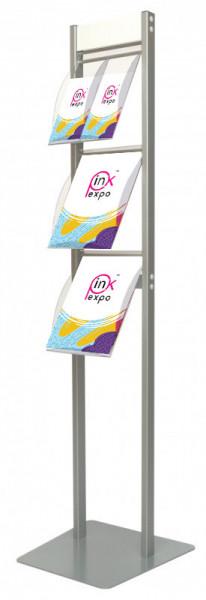 Stand cu rafturi pentru brosuri, pliante sau reviste