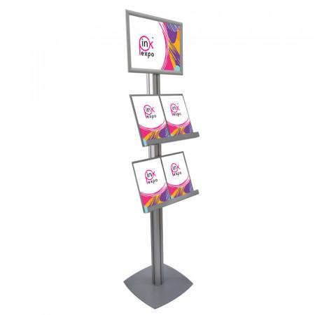 Stand SL cu rafturi pentru pliante, brosuri și cu rama click