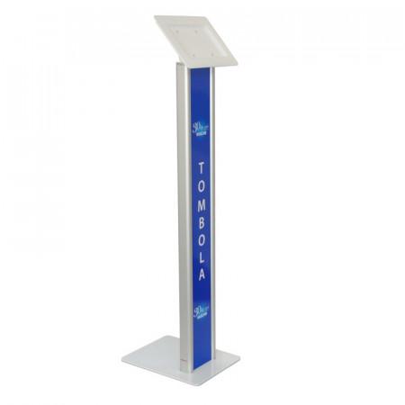Stand tabletă, rectangular cu dibond și carcasă din plexiglas