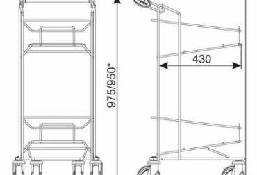 Suport pe rotile pentru doua cosuri de cumparaturi 20-22 lt