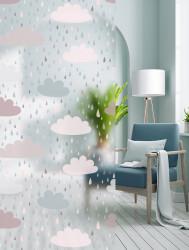 Autocolant transparent cu aspect mat model Picuri si Nori