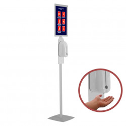 Stand pentru dezinfectare mâini, cu dozator automat și picior din profil rectangular