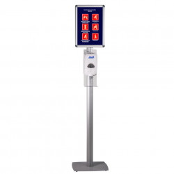 Stand cu dispenser si reverva gel, pentru dezinfectare maini