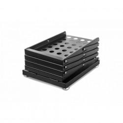 Stand pliabil din metal, pentru expunere broșuri, pliante, reviste, cu 4 buzunare, format A4