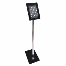 Stand tabletă, cu picior de inox și carcasă din plexiglas