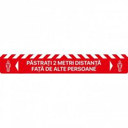 Autocolant Linie Pastrati 2 Metri Distanta Alte Persoane 100 x 15 cm