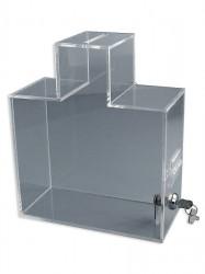 Urnă din plexiglas transparent sau colorat, diferite forme, securizată cu yală