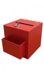 Urnă din plexiglas colorat pentru donații, sugestii sau vot, cu încuietoare